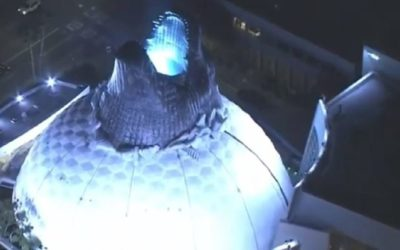 Godzilla's Head Busts Out of the Hollywood Cinerama Dome